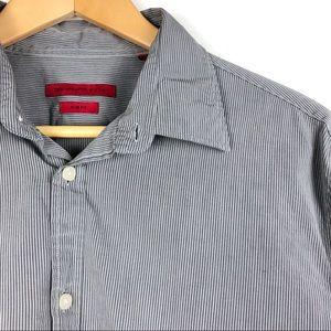 JOHN VARVATOS shirt 15.5R gray stripe Slim Fit T2